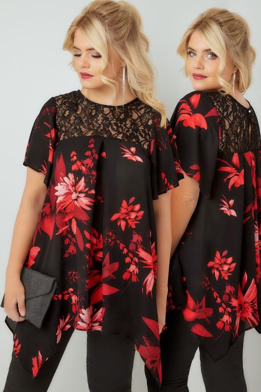 Plus Size Blouses Black & Deep Red Floral Print Blouse With Lace Sequin Yoke