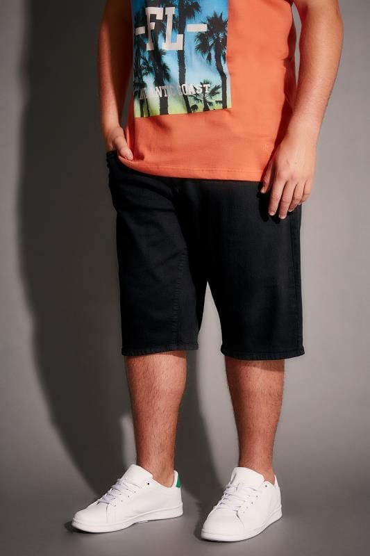 Black Denim 5 Pocket Shorts