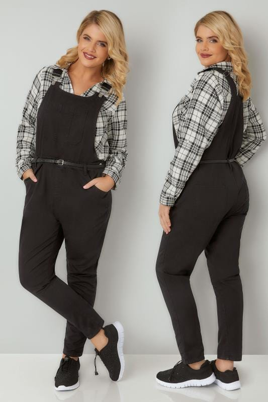Boyfriend & Slouch Jeans Black Denim Dungarees With Front Pocket 103350