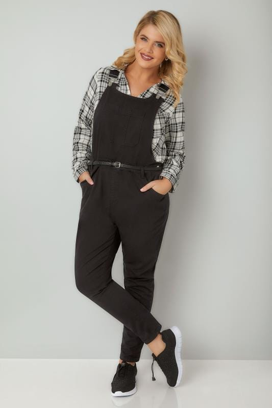 Black Denim Dungarees With Front Pocket