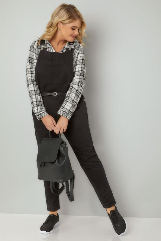 Plus Size Boyfriend Jeans Black Denim Dungarees With Front Pocket