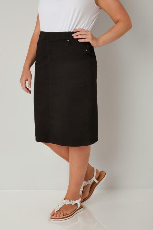 Plus Size Pencil Skirts Black Denim Pencil Skirt