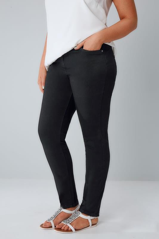 Plus Size Skinny Jeans Black Denim Skinny SHAPER AVA Jeans