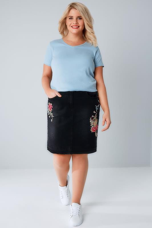 Black Denim Skirt With Floral Embroidery & Raw Hem
