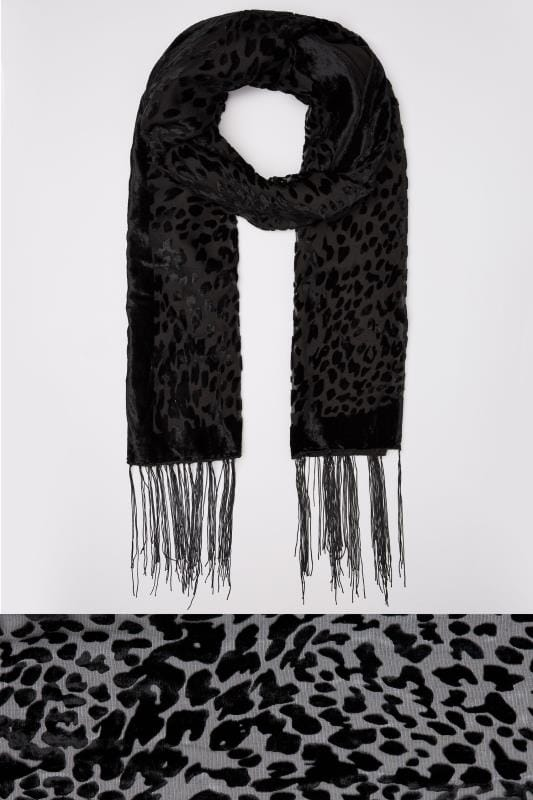 Black Devore Animal Print Scarf With Fringed Trims