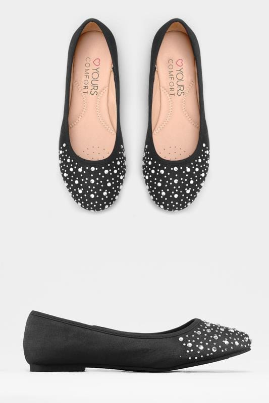 Black Diamante Ballerina Pumps