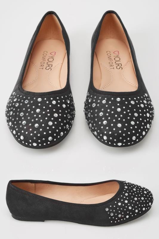 Wide Fit Flat Shoes Black Diamante Ballerina Pumps In EEE Fit