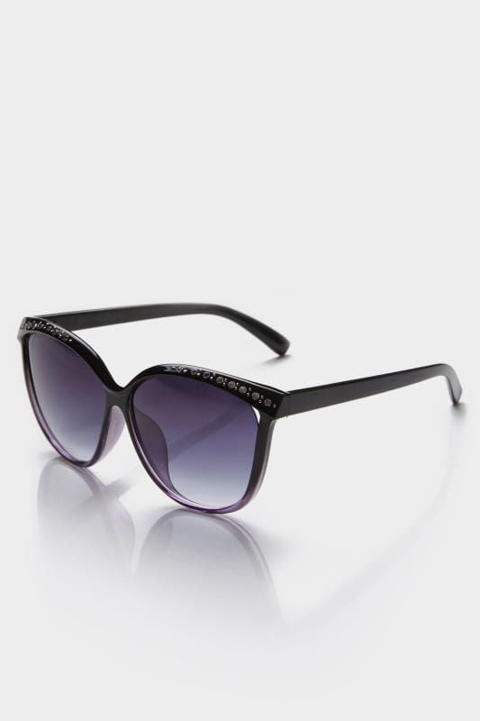 Black Diamante Cat Eye Sunglasses With UV Protection
