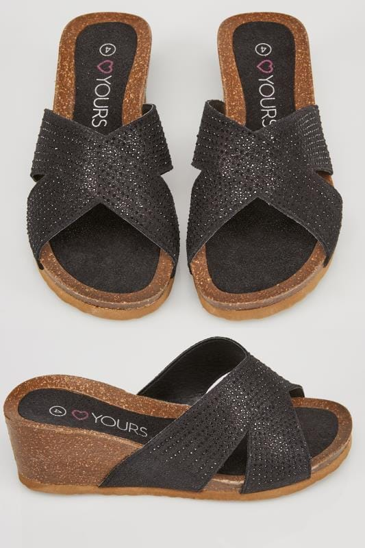Black Diamante Embellished Crossover Mule Wedge Sandals In TRUE EEE Fit