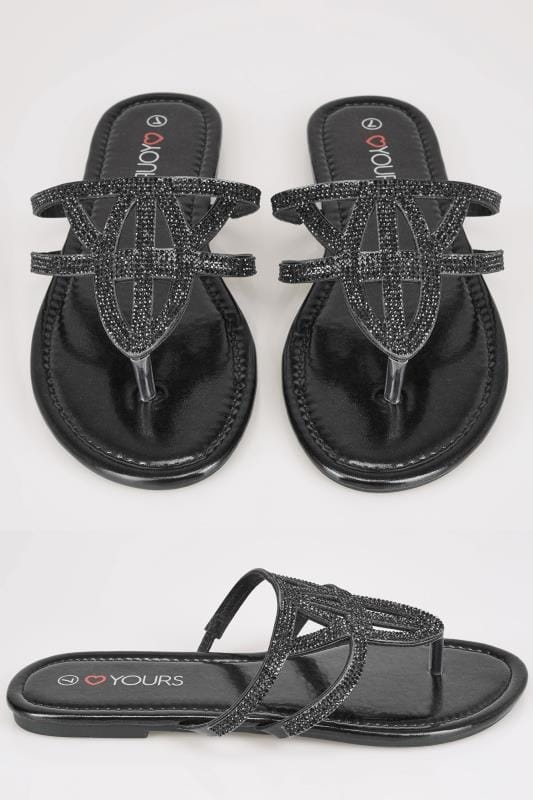 Wide Fit Sandals Black Diamante Embellished Sandals With Lattice Style Straps In TRUE EEE Fit
