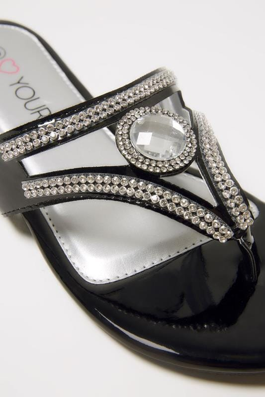 Black Diamante Toe Post Sandals In Eee Fit