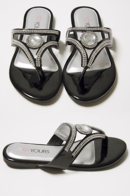 Wide Fit Sandals Black Diamante Embellished Toe Post Flat Sandals In TRUE EEE Fit