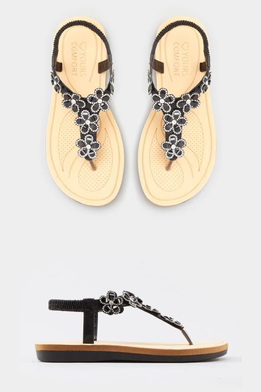 4f1c1f3d653 Wide Fit Sandals Black Diamante Flower Sandals