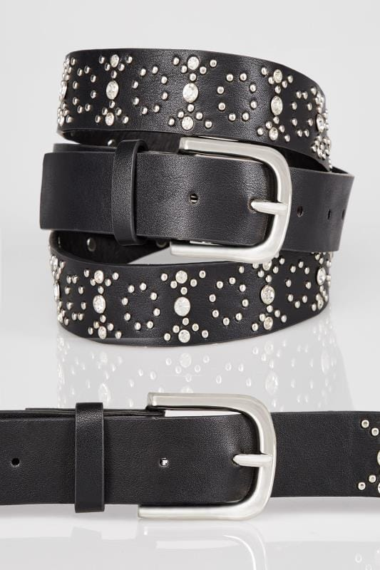 Plus Size Belts Black Diamante & Stud Embellished Belt