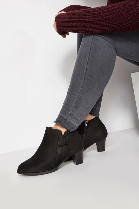 Black Diamante Trim Ankle Boot In EEE Fit
