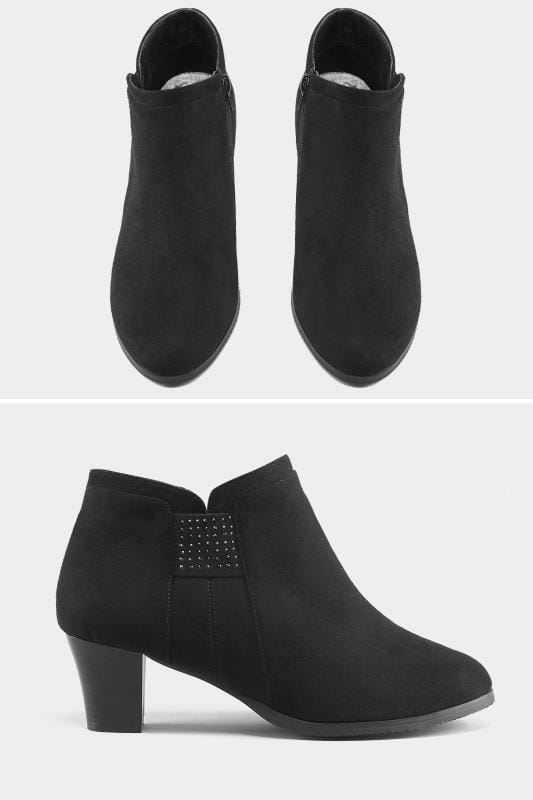 Wide Fit Boots Black Diamante Trim Ankle Boot In EEE Fit