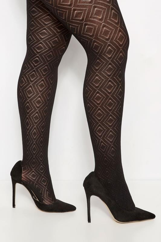 bed172ceb6ffb Plus Size Black Diamond Patterned Tights | Sizes 16 to 36 | Yours ...