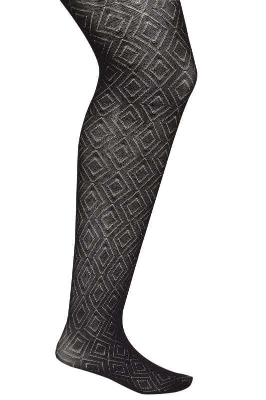 Plus Size Plus Size Tights Black Diamond Patterned Tights