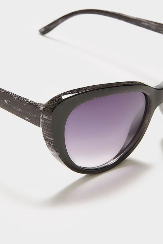 Black Distressed Cat Eye Sunglasses With UV Protection