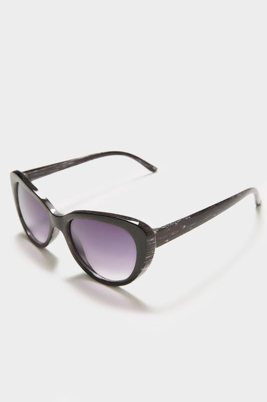 Plus Size Sunglasses Black Distressed Cat Eye Sunglasses With UV Protection