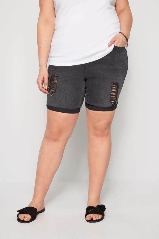 Plus Size Denim Shorts Black Distressed Denim Shorts
