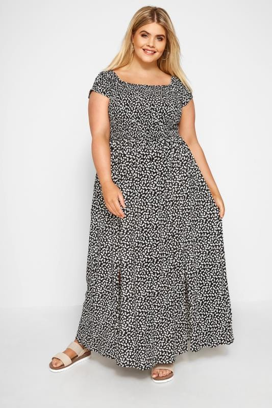 Plus Size Maxi Dresses Black Ditsy Floral Maxi Dress
