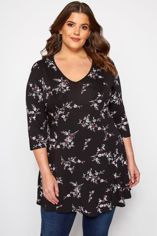 Plus Size Floral Tops Black Ditsy Floral Swing Jersey Top