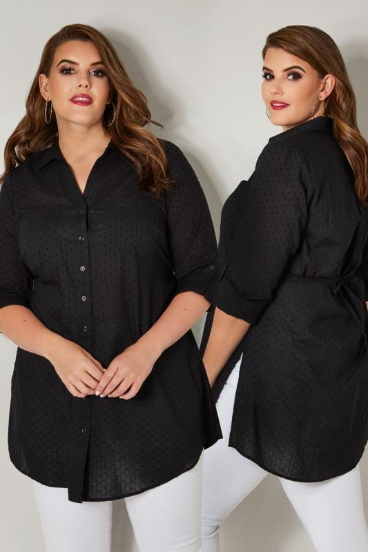 Plus Size Blouses & Shirts Black Dobby Textured Shirt With Tie Fastening