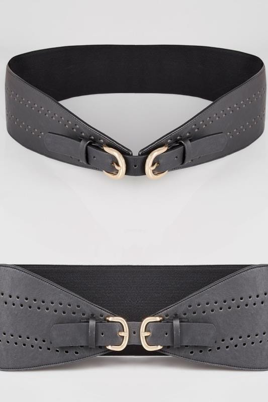 Plus Size Belts Black Double Buckle Cut Out Belt