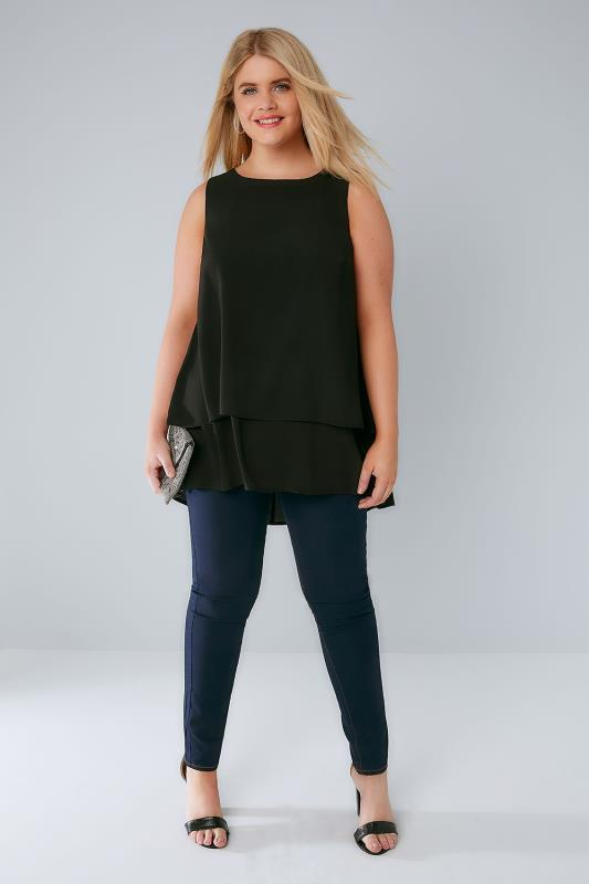 Black Double Layer Longline Top With Dip Hem