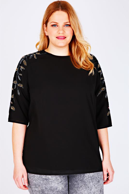 Black Double Layered Top With Embellished Long Sleeves