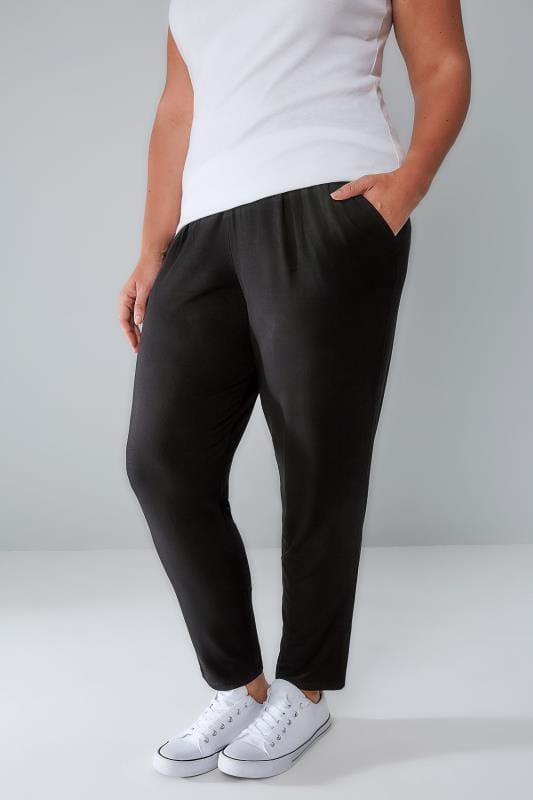 Plus Size Harem Trousers Black Double Pleat Jersey Harem Trousers