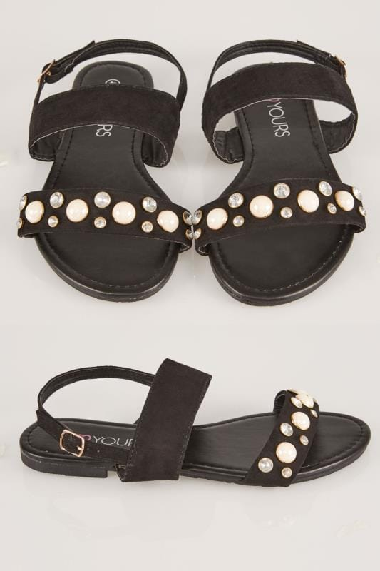 Wide Fit Flat Shoes Black Double Strap Sandals With Pearl Trim In TRUE EEE Fit