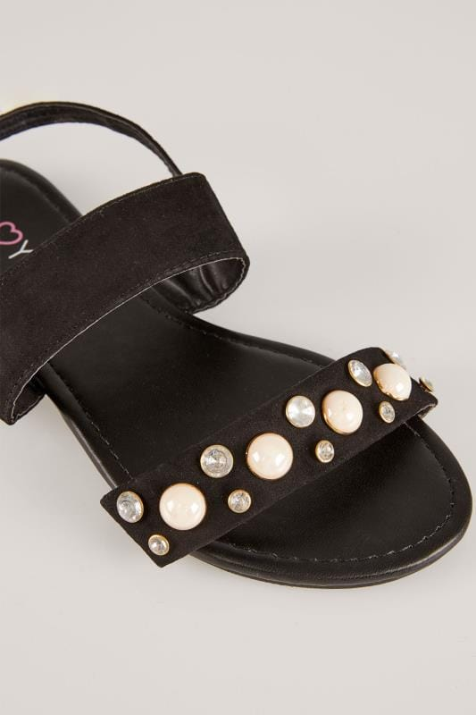 Black Sandals With Faux Pearl Trim In EEE Fit