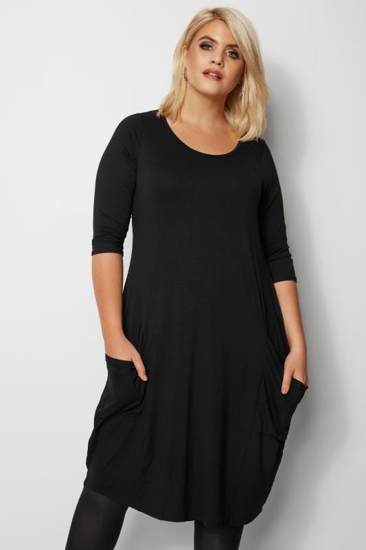 69b20e195f9a Plus Size Swing Dresses Black Drape Pocket Dress