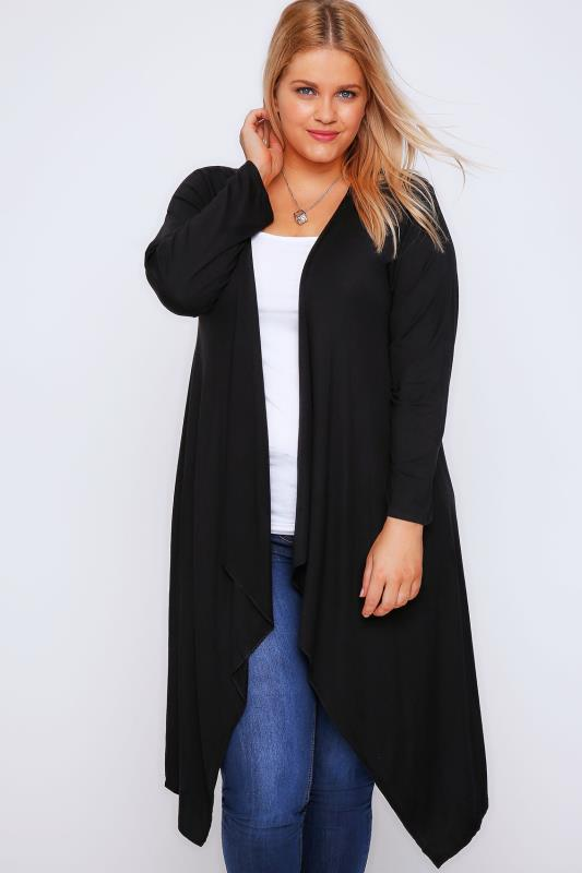 Black Draped Front Waterfall Jersey Cardigan