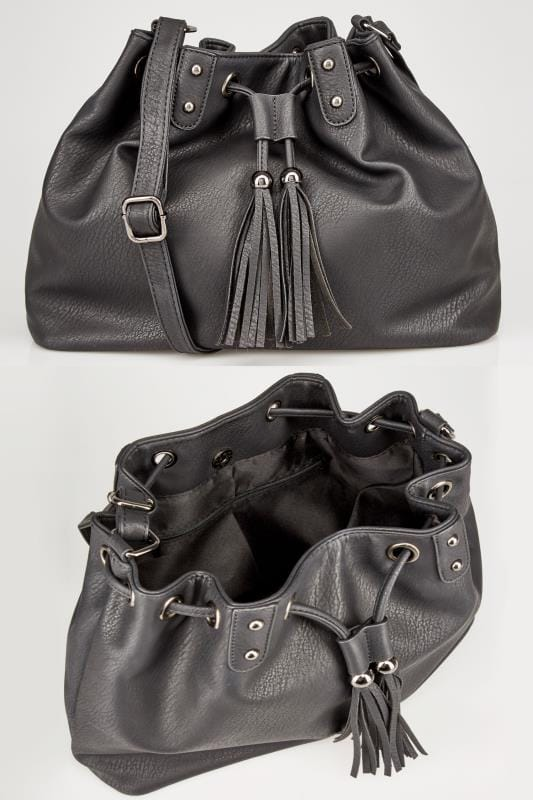 Black Drawstring Across-The-Body Bag With Tassel Detail & Extended Strap