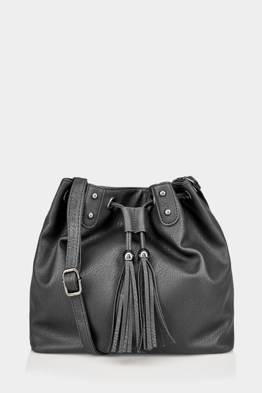 Plus Size Across-The-Body Black Drawstring Across-The-Body Bag With Tassel Detail & Extended Strap