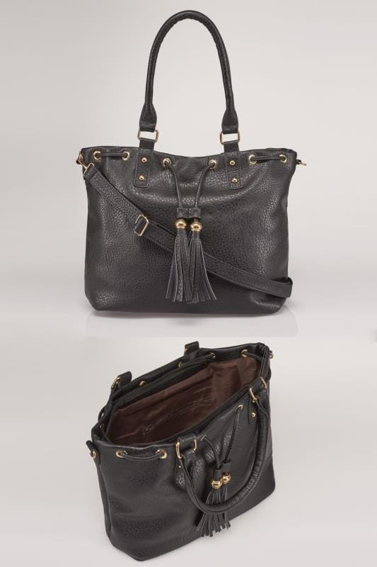 Black Drawstring Shoulder Bag With Tassels