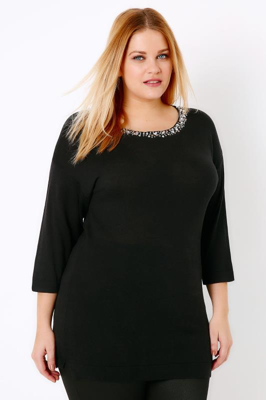 Black Drop Shoulder Fine Knit Jumper With Jewel Neckline