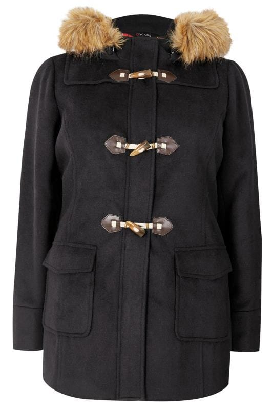 Navy Duffle Coat With Faux Fur Trim