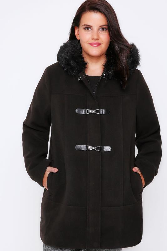 Black Duffle Coat With Fur Trim Hood