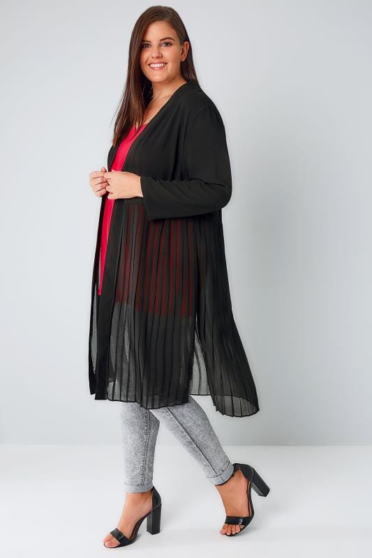 Black Duster Jacket With Pleated Split Hem