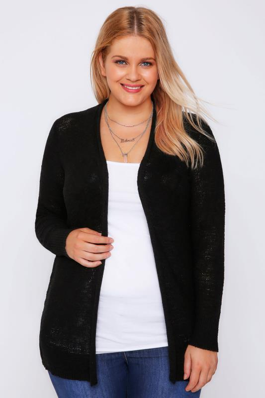 Black Edge To Edge Crinkle Yarn Cardigan