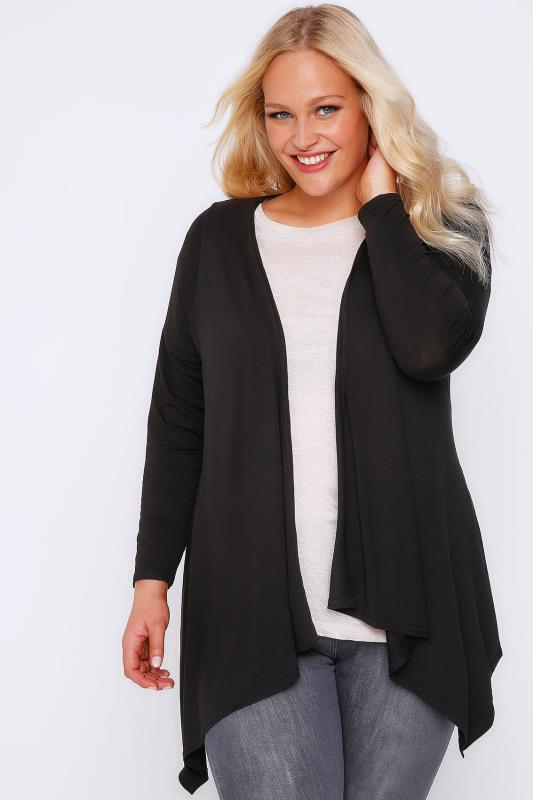 Black Edge To Edge Waterfall Jersey Cardigan