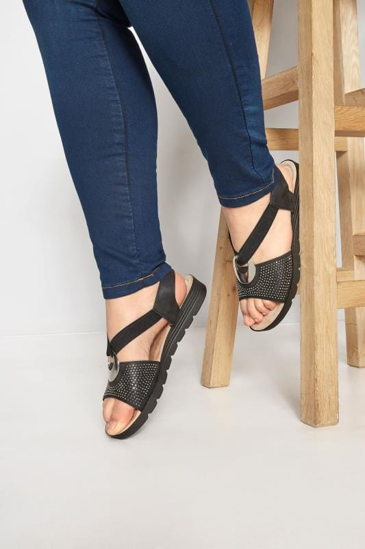 Wide Fit Sandals Black Elastic Diamante Sandals