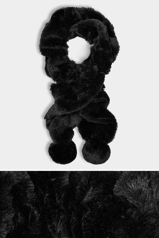 Black Elasticated Faux Fur Scarf