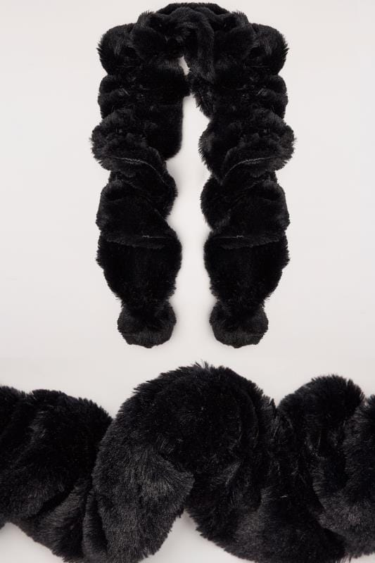 Scarves Black Elasticated Faux Fur Scarf 152468