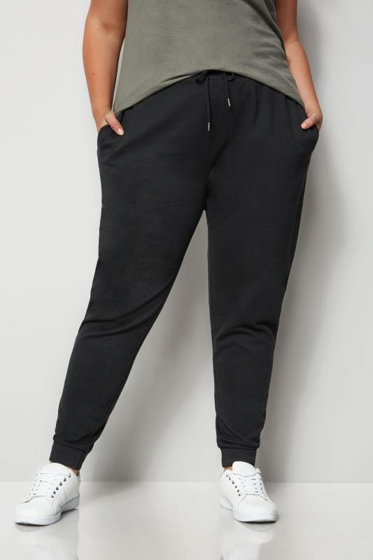 Plus Size Track Pants Black Elasticated Joggers
