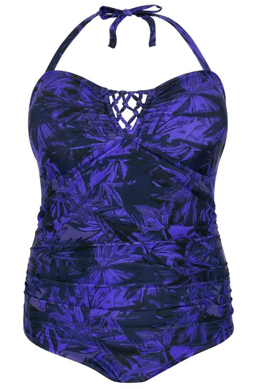 Black & Electric Blue Bamboo Print Halterneck Swimsuit